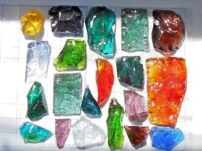 20 VTG Brutalist Dalle De Verre Faceted Glass Pieces - MCM Stained Glass Cubes