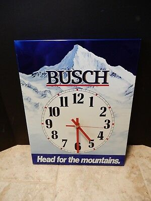 Older Busch Beer Pub Bar Clock Sign Head For The Mountains