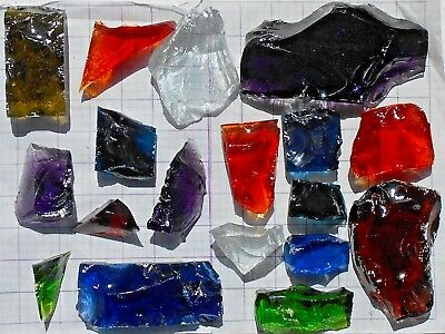 18 VTG Brutalist Dalle De Verre Faceted Glass Pieces - MCM Stained Glass Cubes