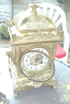 Antique French Japy Freres Solid Gilt Brass Mantle Clock striking key pendulum