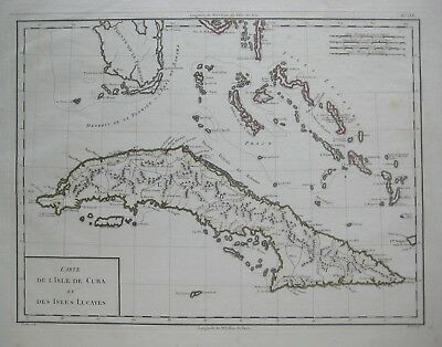 Original 1798 Tardieu Map CUBA BAHAMAS Florida Keys Cat Island Columbus Lucayas