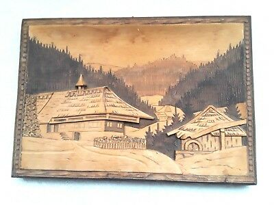 Vintage Asian Hand Carved Teak Wall Hanging Mountain Temple Scene 3D Relief