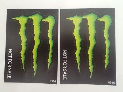 "Two (2) MONSTER ENERGY decals 3"" X 4"" stickers"