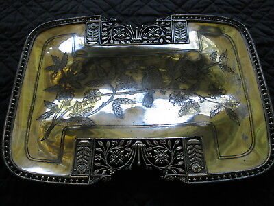 Very Ornate Antique Eastlake Victorian Meriden Silverplate Footed Tray 721-164