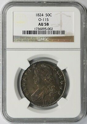 1824 O-115 Capped Bust Half Dollar 50C AU 58 NGC Overton-115