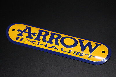 ARROW EXHAUST Sticker Logo Lettering Muffler Damper Sign Plate Yellow