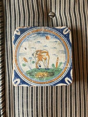 Early Antique Dutch Delft polychrome Tile of Horse Early 17th late 16th Century