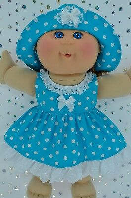 """Play n Wear Doll Clothes To Fit 14"""" Cabbage Patch TURQUOISE POLKA DOT DRESS~HAT"""