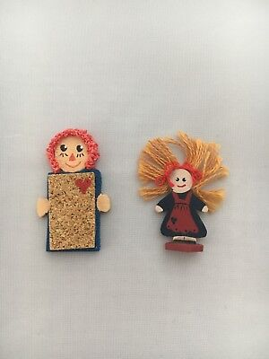Raggedy Ann Hand painted folk art cork board and thread hair doll lot of 2