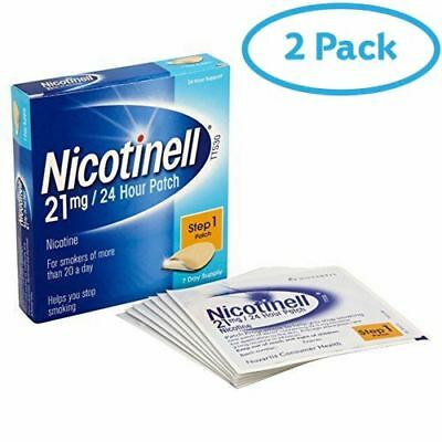 2 Packs of Nicotinell Stop Smoking Aid 24 hour 7 days Nicotine Patches 21 mg