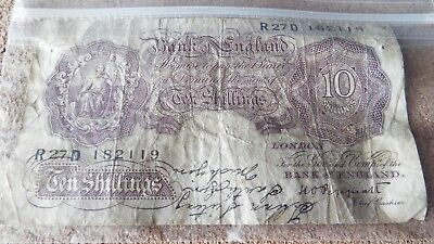 WWII 10 Shillings Bank of England UK Great Britain Note