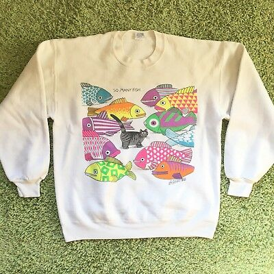 VTG 90s Crazy Shirt Hawaii Sweater Womens L/XL Art Cats Fish Print Colors