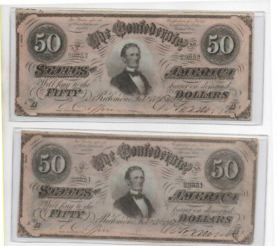Civil War Confederate CSA T-66 2 Consecutive Numbered $50 Note Obsolete Currency
