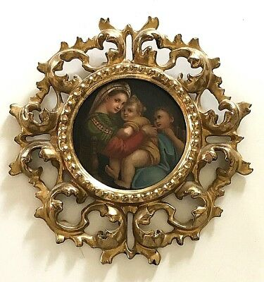 Antique Continental Porcelain Art Tile Plaque Raphael Madonna & Child Gold Frame