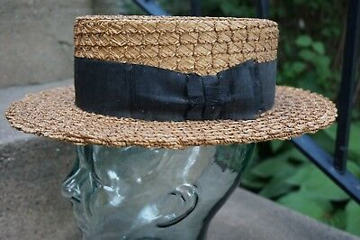 Vintage Boater Hat Unusual Woven Pattern Includes VTG Hat Box