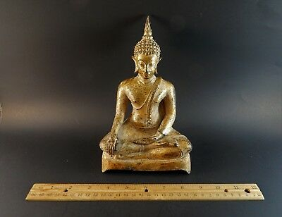 Old Antique Thai Burmese Sino Tibet Gilt Metal Buddha Sitting Vajraparyankasana