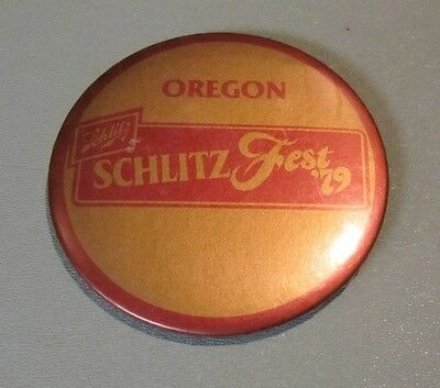 Vintage 1979 Oregon Schlitzfest Schlitz Beer Advertising Pin Pinback Button 3""