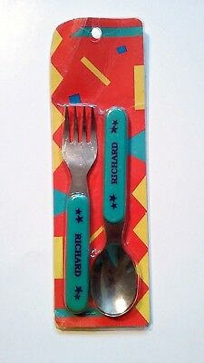 Contenova Personalized Richard Fork & Spoon Set Stainless Steel Vintage Dine Eat