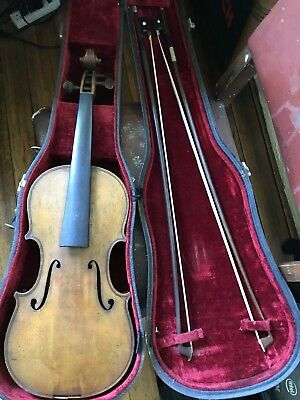 Interesting 3/4 size German Guarnerius Copy and two bows