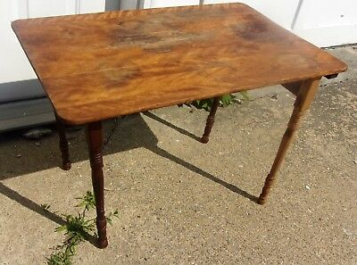 """Antique Civil War Era Folding Wood Sewing Table Early Maple Wood 18x29"""" Working"""