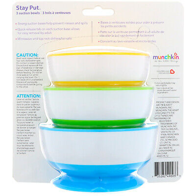 Munchkin Baby Feeding Stay Put Suction Bowls 3Pk (Dishwasher Safe)
