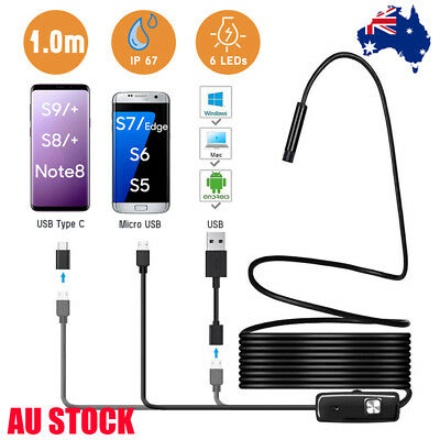 6 LED USB C Micro USB Endoscope Borescope Inspection Camera HD For Android