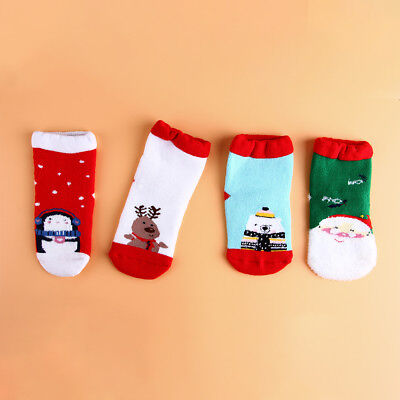 4 Pairs Christmas Socks Kids Soft Cotton Toddlers Girls Tights Leg WarmStockings