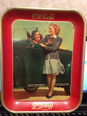 Vintage Authentic 1942 Coke Coca Cola Advertising Serving Tin Tray   M-50