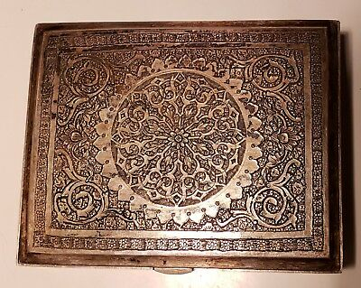 Fine, Hallmarked  Antique PERSIAN SILVER Box, Heavy Decorated Hand Chased