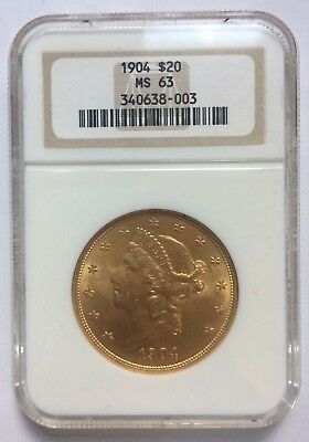 1904 $20 Liberty Head Gold Coin MS63 (Free shipping, No reserve)