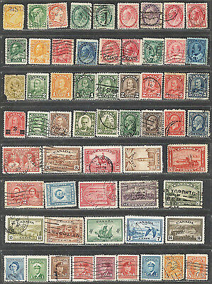1870 Oldest (60) Used Canada Stamps 12 QUEEN VICTORIA Nice Vintage Lot ALL DIFF.