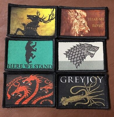 Game of Thrones Morale Patch LOT (6 Patches) Tactical Military Army USA Stark