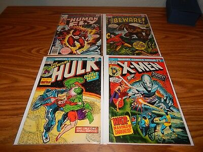 LOT Of 4 Bronze Age Comics W/KEYS Human Fly #1,Beware #1, Hulk 174,X-Men 82 FN+