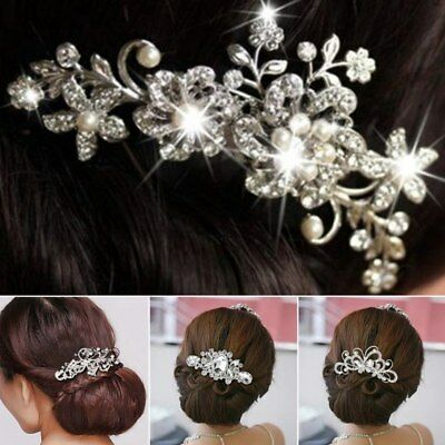 Women Flower Crystal Pearls Hair Comb Headpieces Bridal Wedding Hair Clip Jewelr