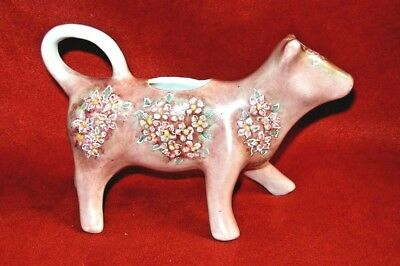 """Vintage Hand Painted & signed  Cow Creamer  7"""" long"""