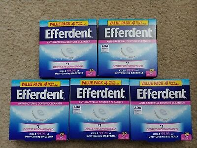 (100) Efferdent Anti Bacterial Denture Cleanser Tablets (5 boxes x 20 Count)