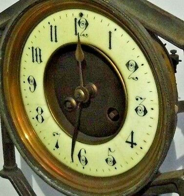 "Antique French Mougin Chime Clock Dial &  Brass Movement as-is 1890 5 3/4"" Bezel"