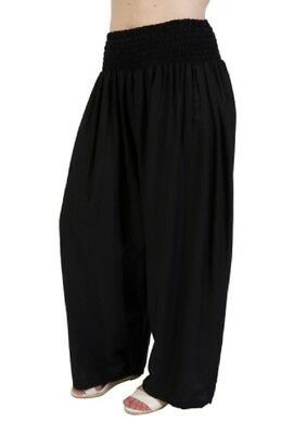 Plus Size Black Relaxed / Beach Pants Elastic Waist One Size Fits 16-18-20-22