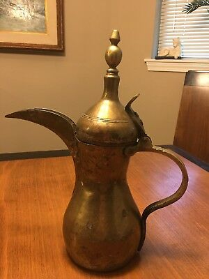 "Antique Bedouin 12 1/2"" Tall Brass Dallah Coffee Pot with Maker's Mark *QUALITY*"