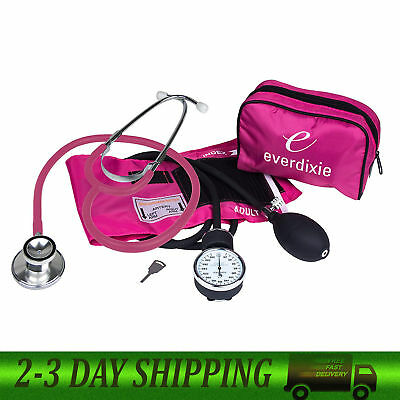 Stethoscope And Manual Adult Blood Pressure Cuff Kit Sphygmomanometer BP -Pink