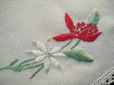Australian Wild Flowers -Red Waratah Vintage Hand Embroidered Doily 2 available