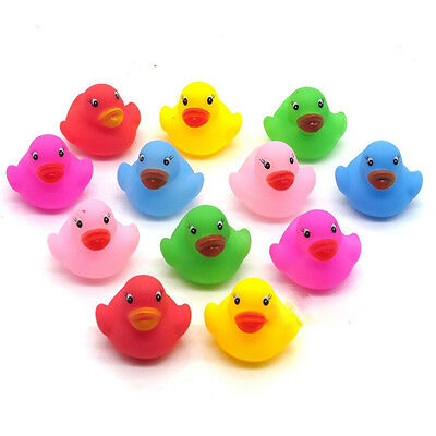 12 Pcs Colorful Baby Children Bath Toys Cute Rubber Squeaky Duck DuckyPB