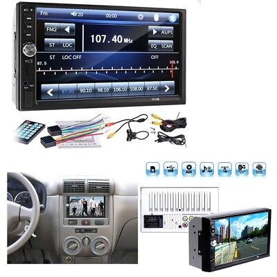 1x 7 inch 2DIN Car MP5 Player Bluetooth Touch Screen Stereo Radio HD+Rear Camera