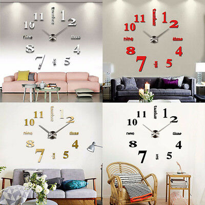 DIY 3D Large Number Mirror Wall Clock Sticker Decor for Home Office Kids Bedroom