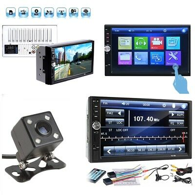 2DIN 7inch Car MP5 Player Bluetooth Touch Screen Stereo Radio HD+Rear Camera