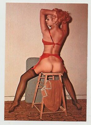 1950s Girl On Wooden Stool / No Panties - Lingerie (Vintage Pinup PC)