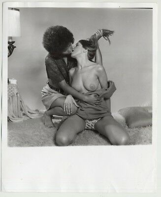 Interacial Female Couple Kissing Passionately / Panties - Lesbian INT (Vintage P