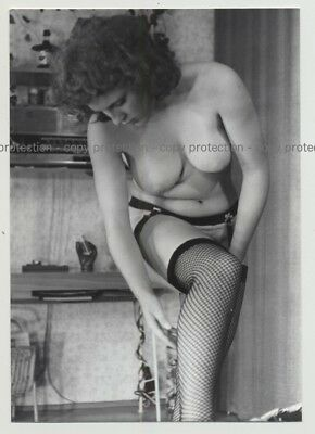 Sweet Busty Nude Curlyhead Checks Fishnet Stockings (Photo DDR 70s/80s)