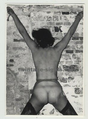 Kinky Rear View Of Bondaged Nude Woman In Dungeon (Vintage Photo)