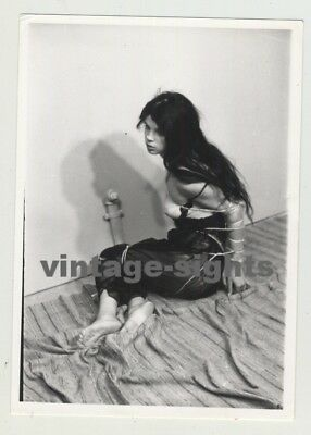 Pretty Woman In Tight Bondage On Floor (Vintage Photo 1964)